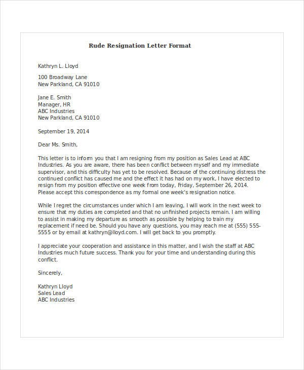 resignation letter sample rude rude resignation letters 5 free