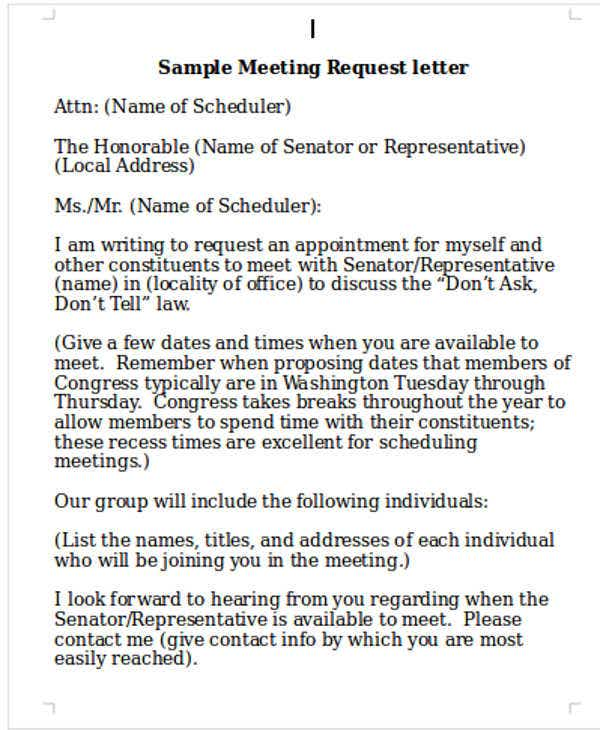 Customer Meeting Request Letter Template