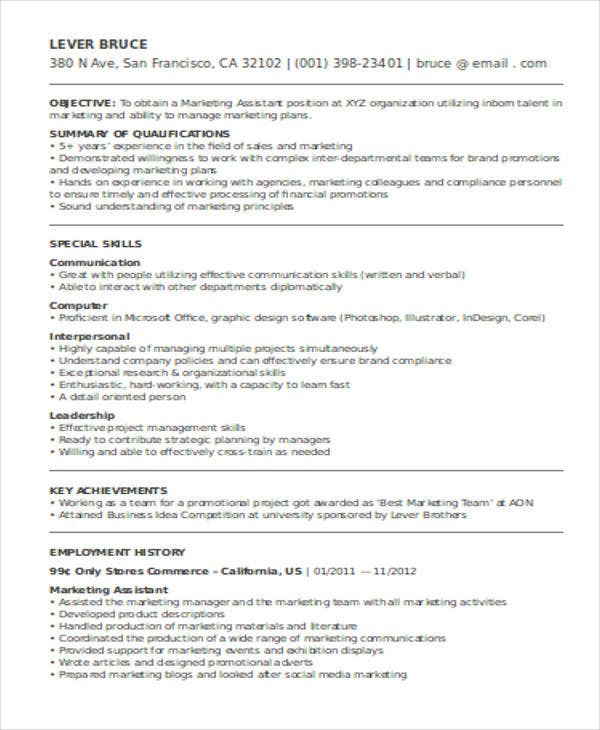 resume marketing assistant