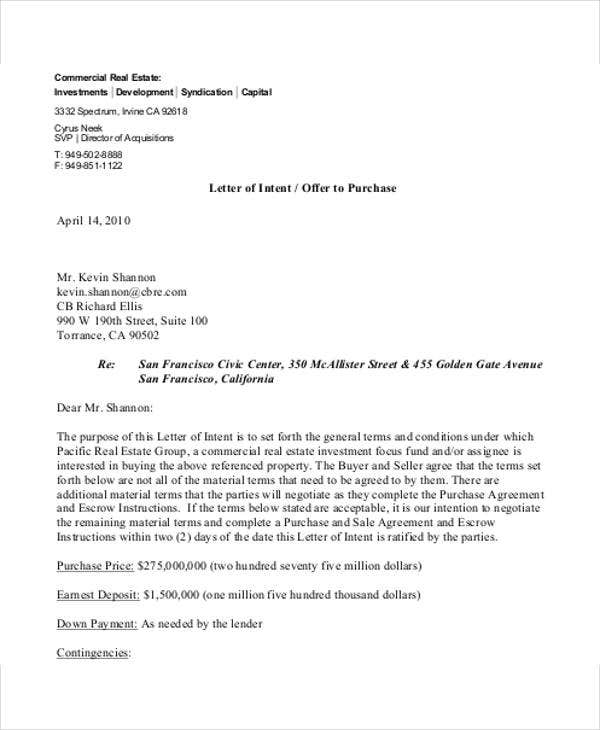 commercial real estate offer letter template