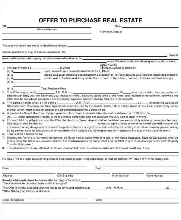 real estate offer letter to purchase