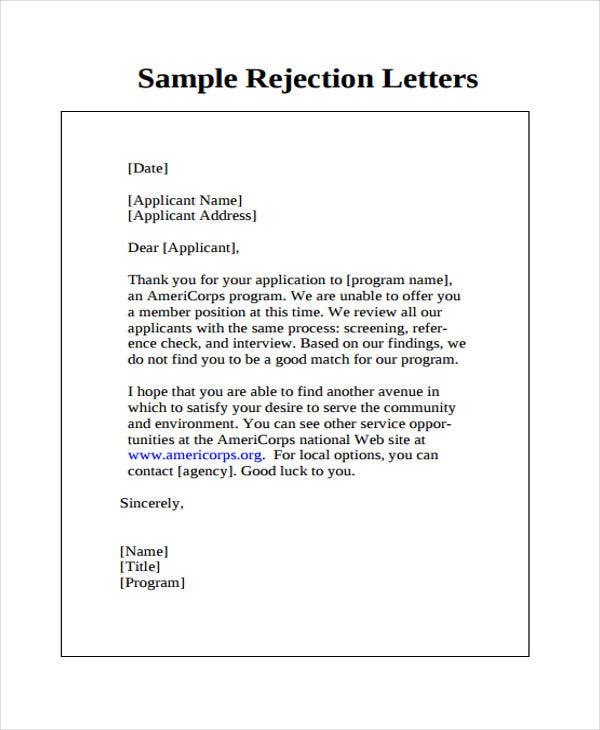 service offer rejection letter template