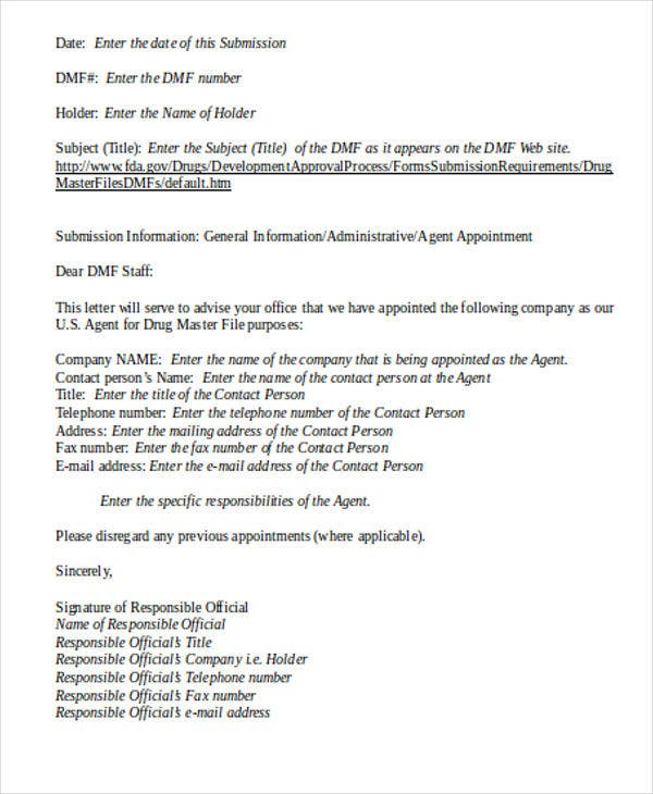 Agent Appointment Letter Format
