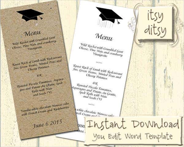 college graduation menu template