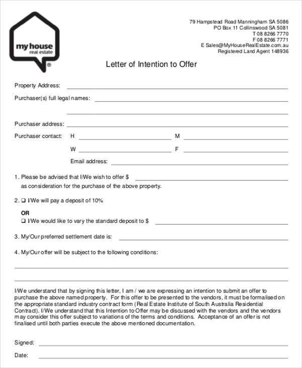 Real Estate Offer Letter Format