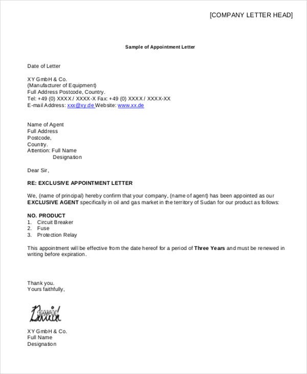 Sample Appointment Letter Job Appointment Letter Format In Word