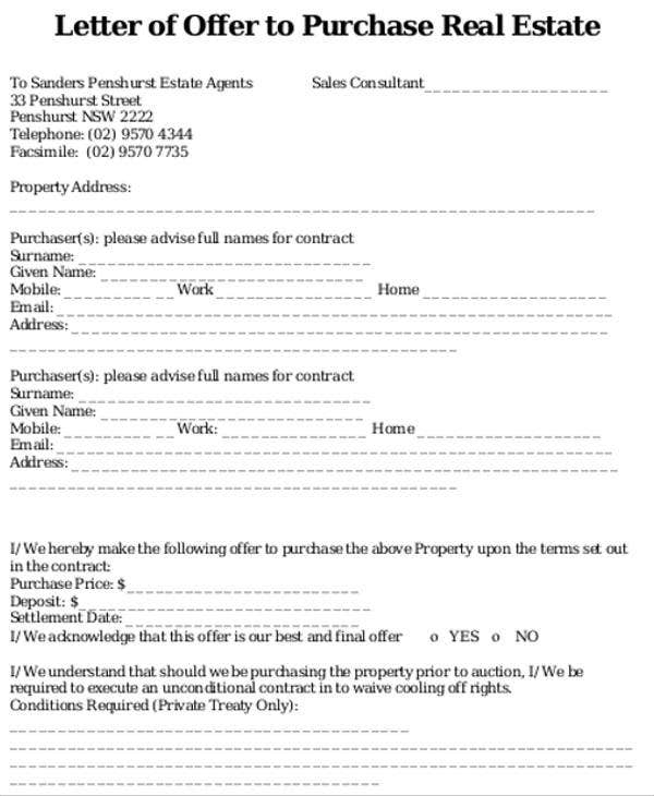 8 real estate offer letter template 9 free word pdf for Offer to purchase contract template