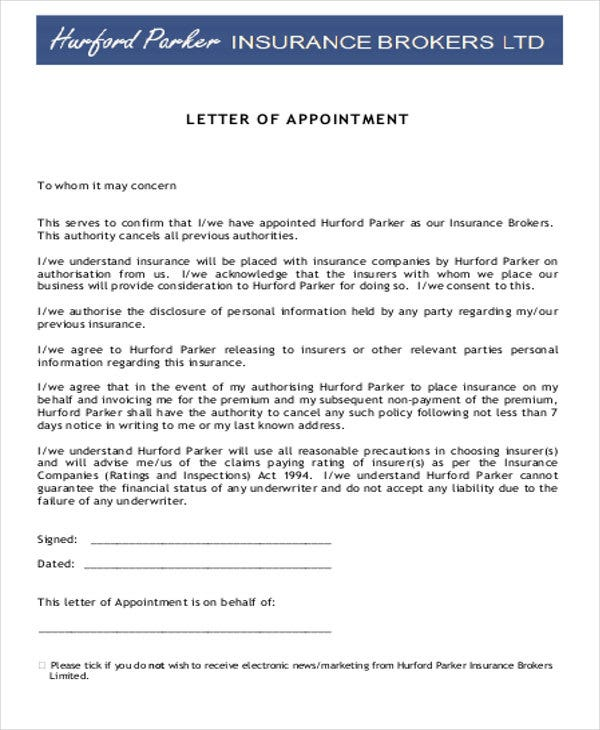 no set off letter template insurance  Agent Appointment Letter Template - 10  Free Word, PDF Format ...