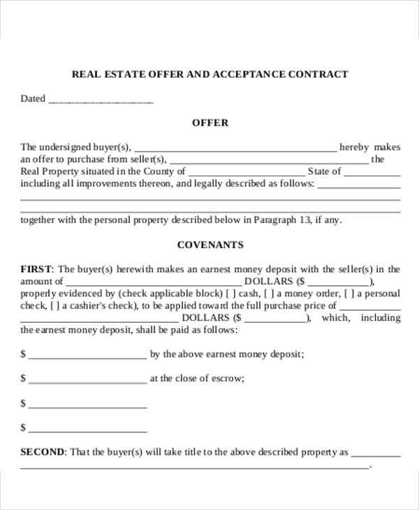 real estate offer acceptance letter template
