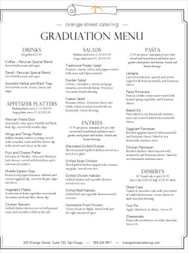 9 graduation menu templates psd vector eps ai for Graduation party checklist template