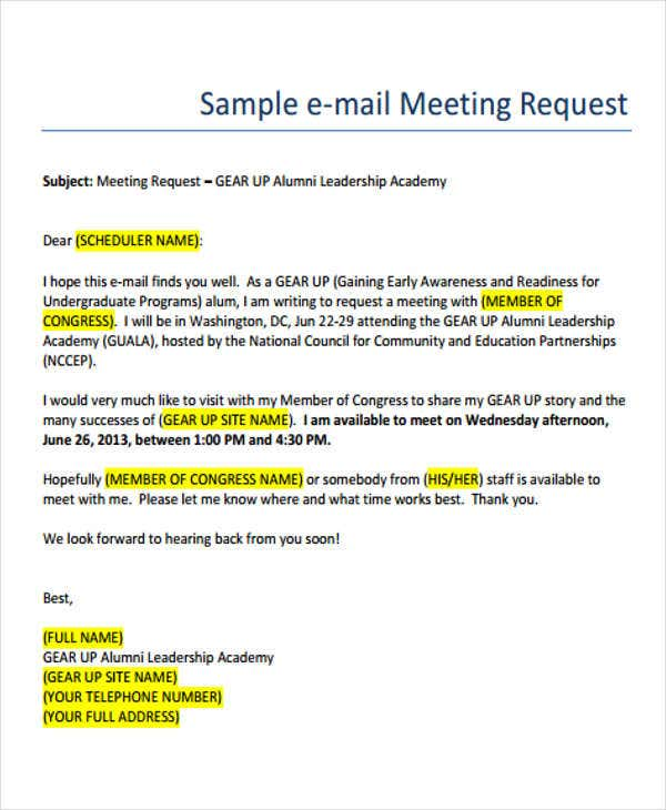 Business e mail format free premium templates for Email template to request a meeting