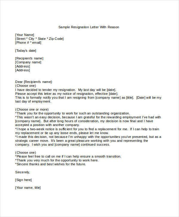simple resignation letter with reason template