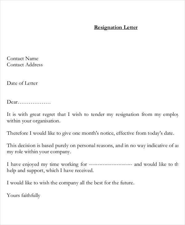 Resignation Letter With Personal Reason