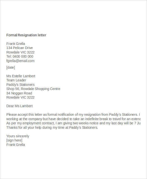 Formal Resignation Letter With Reason Template