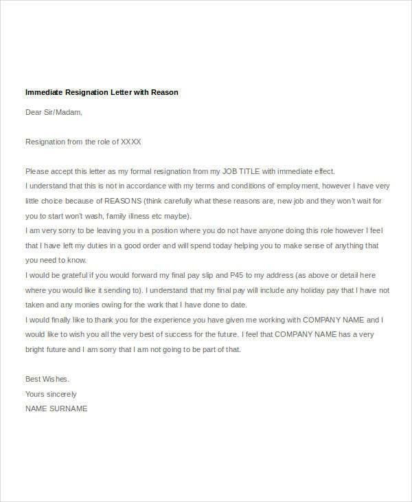 immediate resignation letter with reason - How To Resign From A Job Reasons For Job Resignation