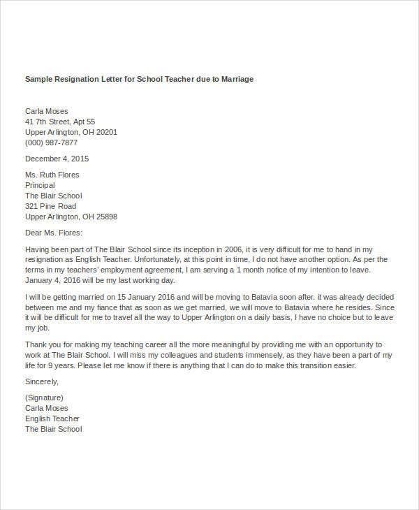 Resignation Letter Reason For Leaving  Template