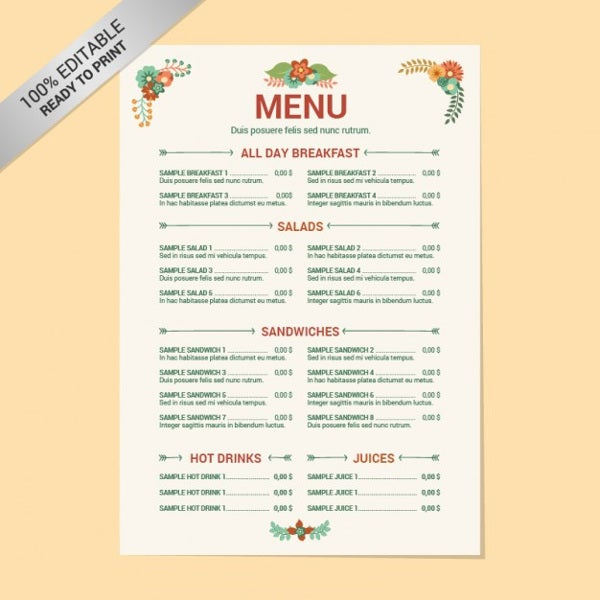 Menu layout templates free psd eps format download