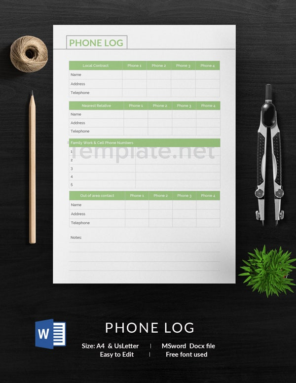 Phone Log Template