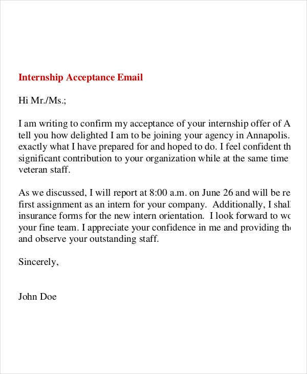 Internship Offer Letter Internship Offer Acceptance Letter Template