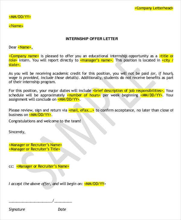 internship offer letter format template