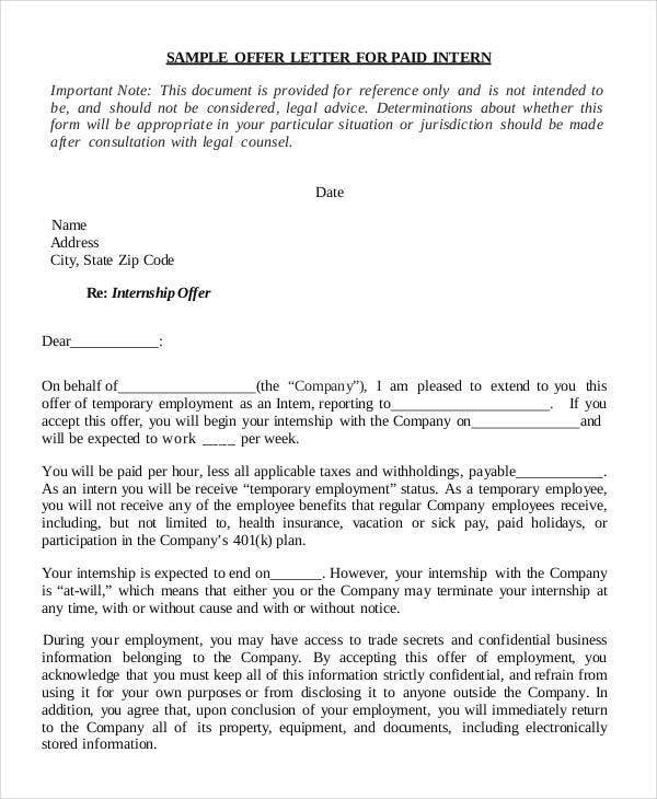 Internship Offer Letter Template 6 Free Word PDF Format – Sample Offer Letters