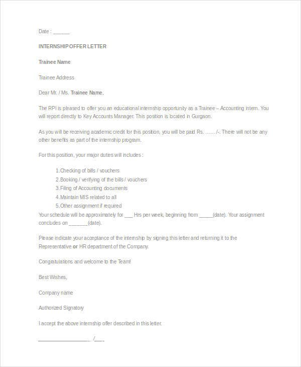 Internship Offer Letter Template   Free Word Pdf Format