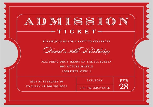 Admission Ticket Layout Template