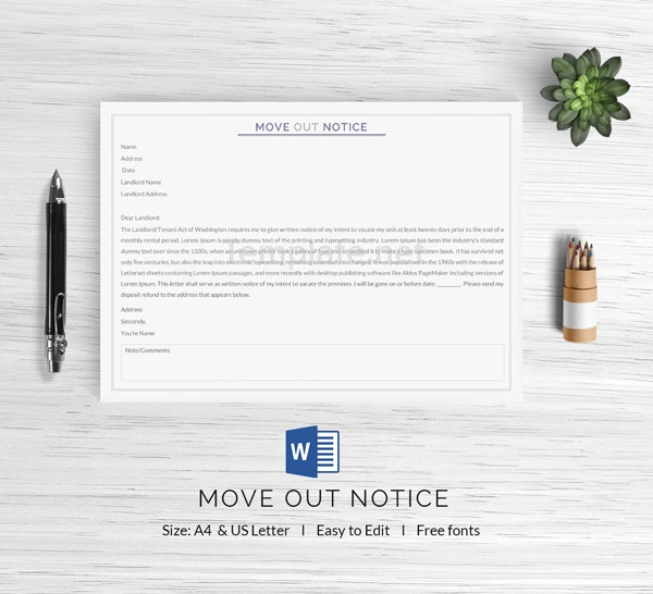 Move Out Notice Template