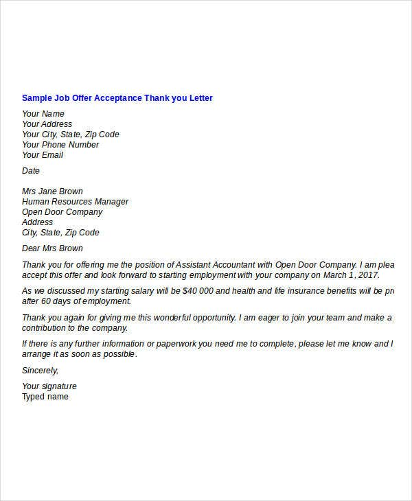 acceptance of job offer thank you letter template