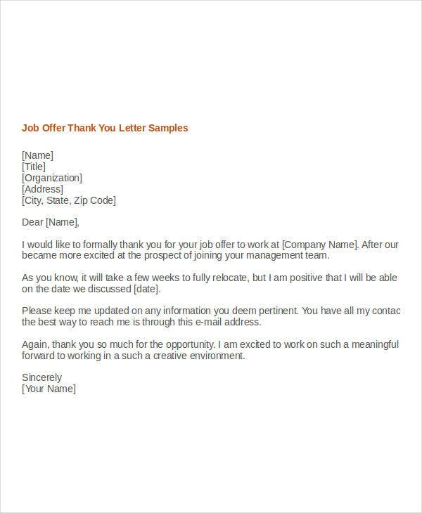 thank you letter after getting job offer