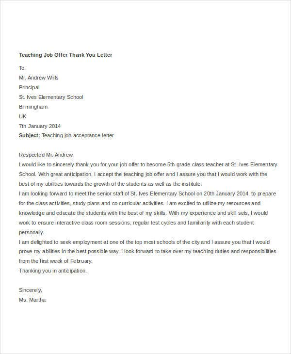teaching job offer thank you letter template