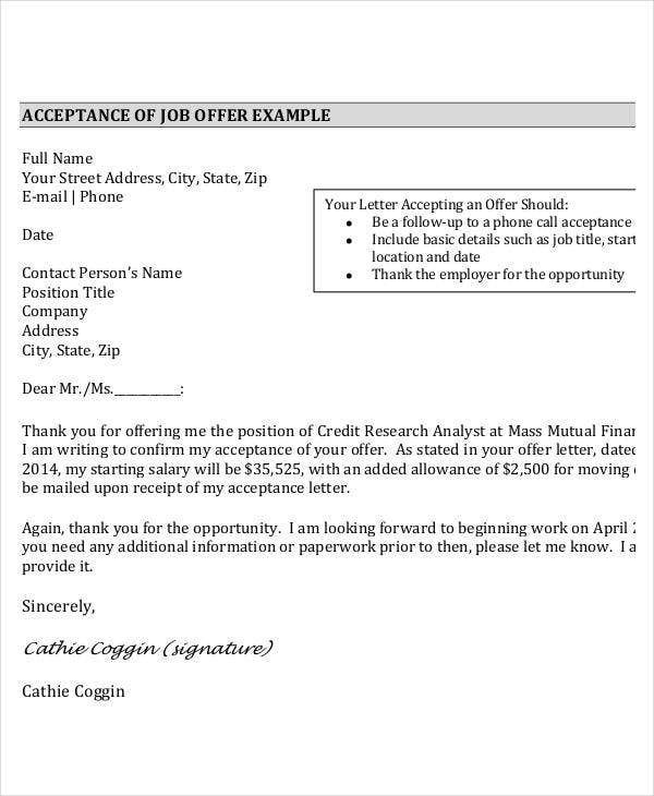 job offer thank you letter example in pdf