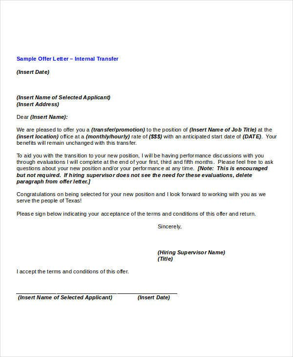 Transfer offer letter template 5 free word pdf format for Internal transfer letter template