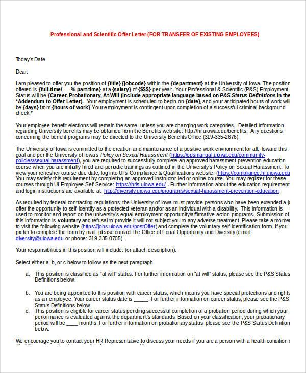 position transfer offer letter template