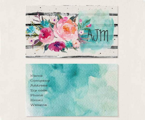 8  watercolor business card templates