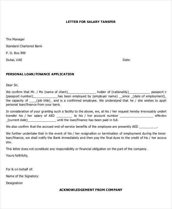 salary transfer letter to bank template