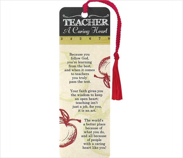 Teacher Appreciation Bookmark Template