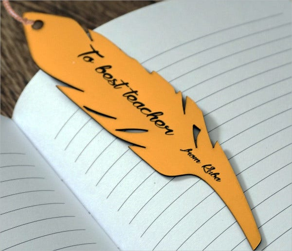 Teacher Feather Bookmark Template