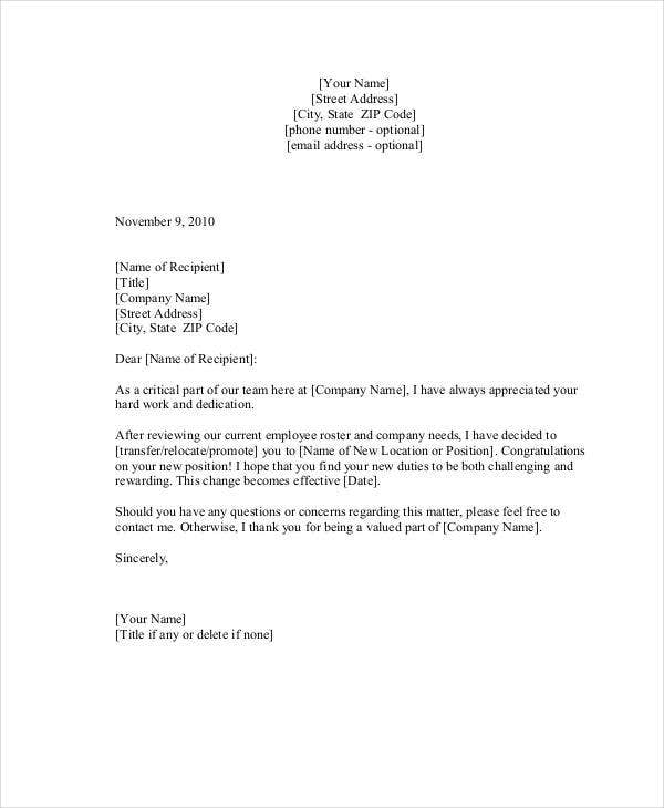 Work Transfer Letter Template  Free Word Pdf Format Download