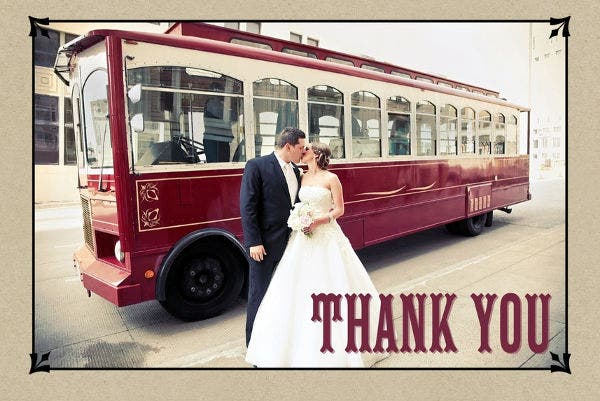 Vintage Thank You Wedding Card
