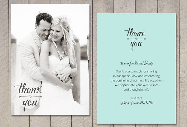 Thank You Message Wedding Gift: Thank You Wedding Card - 9+ Free PSD, EPS Vector