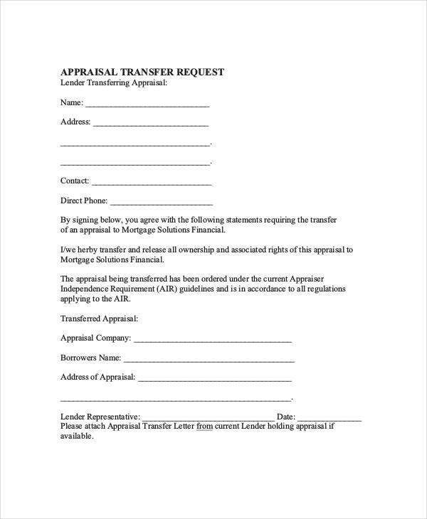 appraisal transfer request letter template