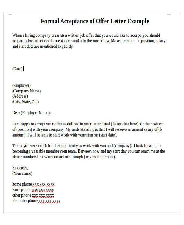 Formal Offer Letter Template - 8+ Free Word, Pdf Format Download