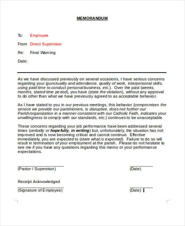 final business warning letter template