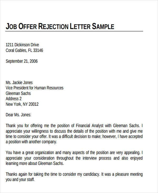 Formal Rejection Letter