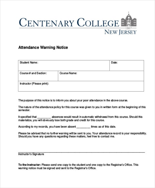 Attendance Warning Letter Template - 5+ Free Word, Pdf Format