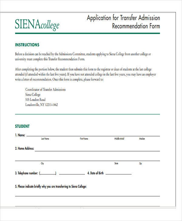 transfer application academic recommendation letter