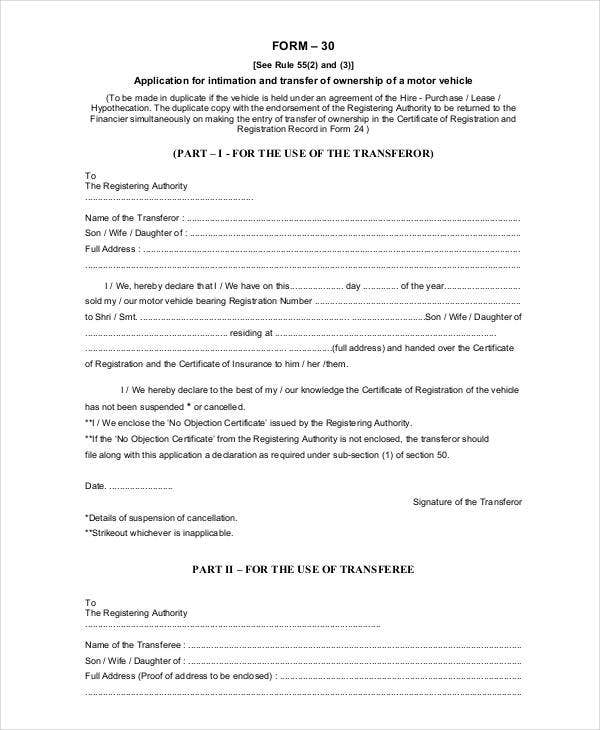 Vehicle Ownership Transfer Letter Template