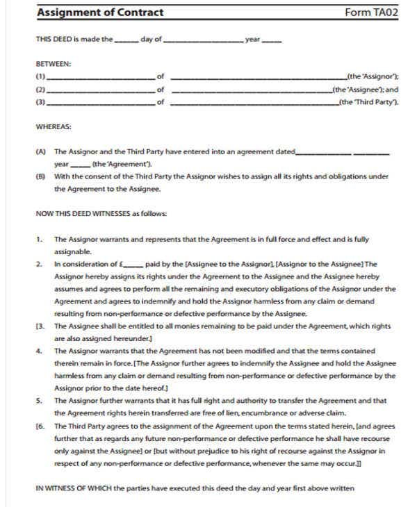 Transfer Of Property Contract Letter Template