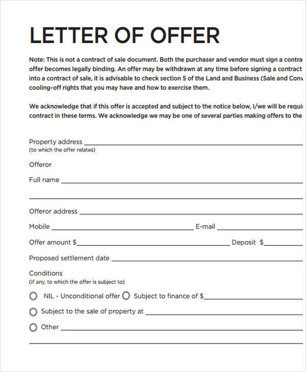 Real Estate Offer Letter Template For Free